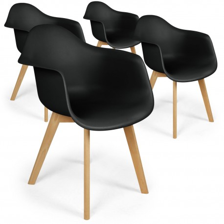 Chaises scandinaves design Daven Noir - Lot de 4