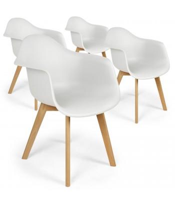 Chaises scandinaves design Daven Blanc - Lot de 4 pas cher