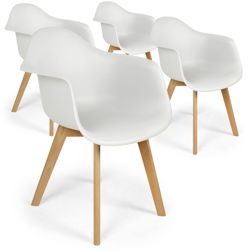 Chaises scandinaves design daven blanc lot de 4 pas cher for Chaises blanches scandinaves