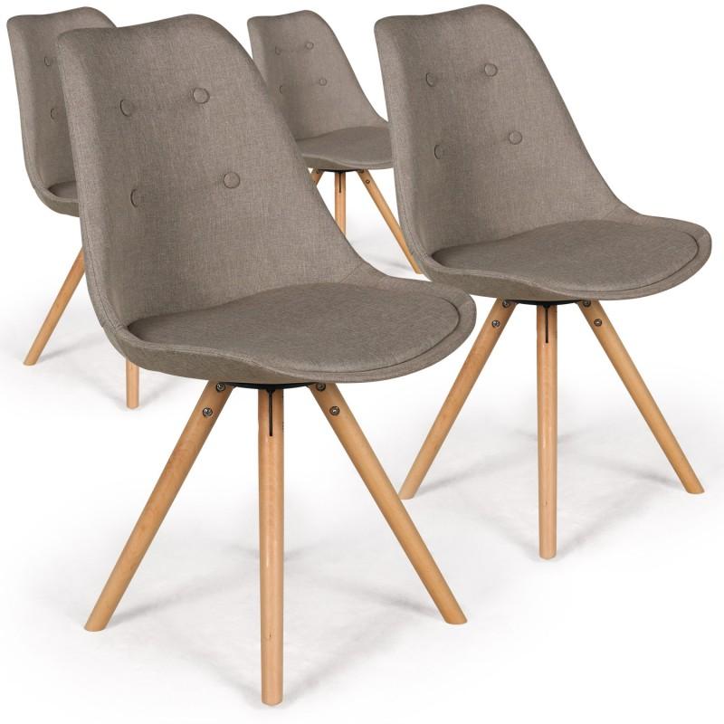 chaises scandinaves ida tissu beige lot de 4 pas cher scandinave deco