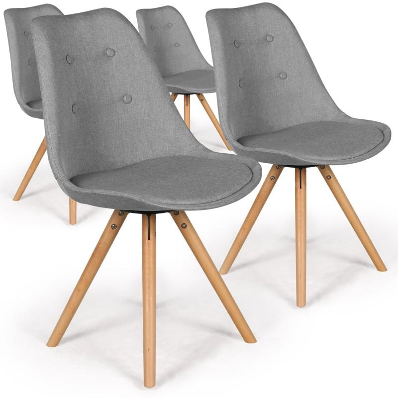 chaises scandinaves ida tissu gris lot de 4 pas cher. Black Bedroom Furniture Sets. Home Design Ideas