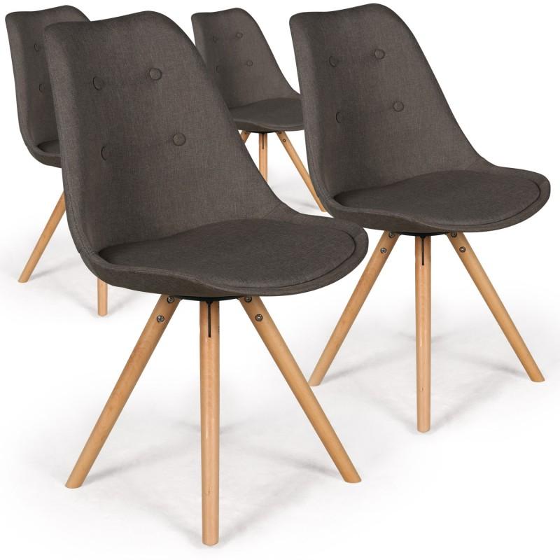 chaises scandinaves ida tissu taupe fonc lot de 4 pas. Black Bedroom Furniture Sets. Home Design Ideas
