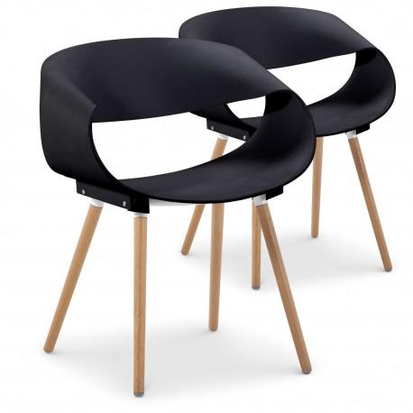 Chaises scandinaves design Ritas Noir - Lot de 2