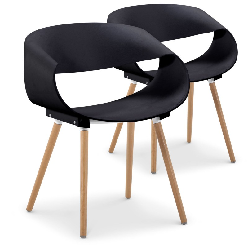 Chaises scandinaves design ritas noir lot de 2 pas cher for Chaise noir design