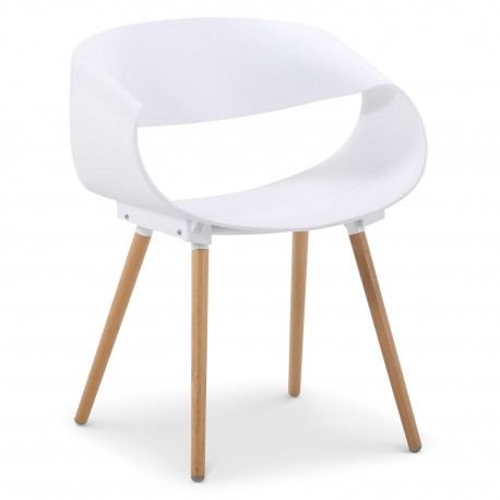 Chaises scandinaves design Ritas Blanc - Lot de 2 pas cher