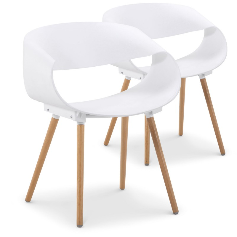 chaises scandinaves design ritas blanc lot de 2 pas cher scandinave deco. Black Bedroom Furniture Sets. Home Design Ideas