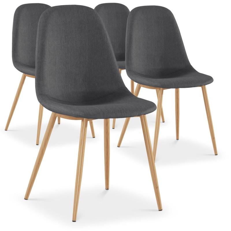 chaises scandinaves karl tissu gris lot de 4 pas cher. Black Bedroom Furniture Sets. Home Design Ideas
