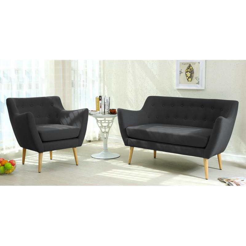 canap scandinave 2 places stuart tissu noir pas cher. Black Bedroom Furniture Sets. Home Design Ideas
