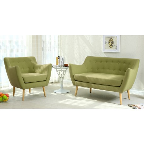 canap scandinave 2 places stuart tissu vert pas cher scandinave deco. Black Bedroom Furniture Sets. Home Design Ideas