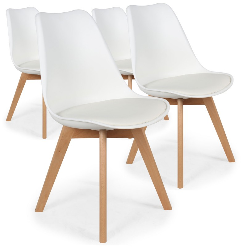 Chaises scandinaves ericka blanc lot de 4 pas cher for Lot 4 chaises