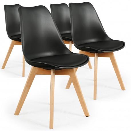 Chaises Scandinaves Ericka Noir - Lot de 4 pas cher