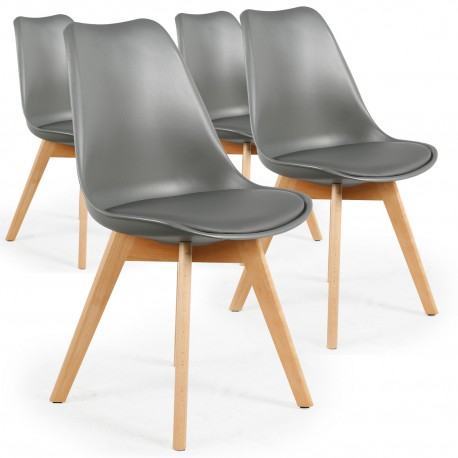Chaises Scandinaves Ericka Gris - Lot de 4