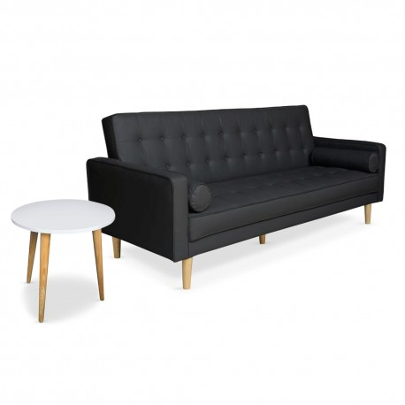 Canapé convertible scandinave Noir + Table basse scandinave Blanc