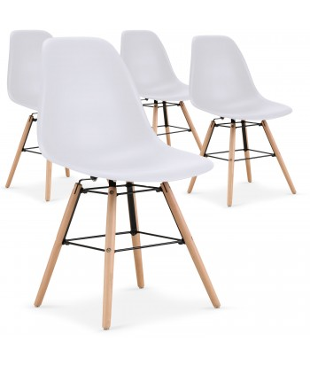 Chaises scandinaves Elies Blanc - Lot de 4 pas cher