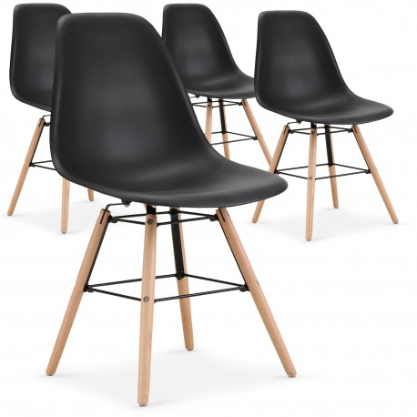 promo chaises scandinaves elies noir lot de 4 - Chaise Scandinave Noir