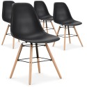 Chaises scandinaves Elies Noir - Lot de 4