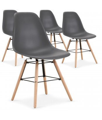 Chaises scandinaves Elies Gris - Lot de 4 pas cher