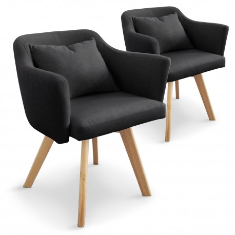 fauteuils scandinaves rigo tissu noir lot de 2 pas cher. Black Bedroom Furniture Sets. Home Design Ideas