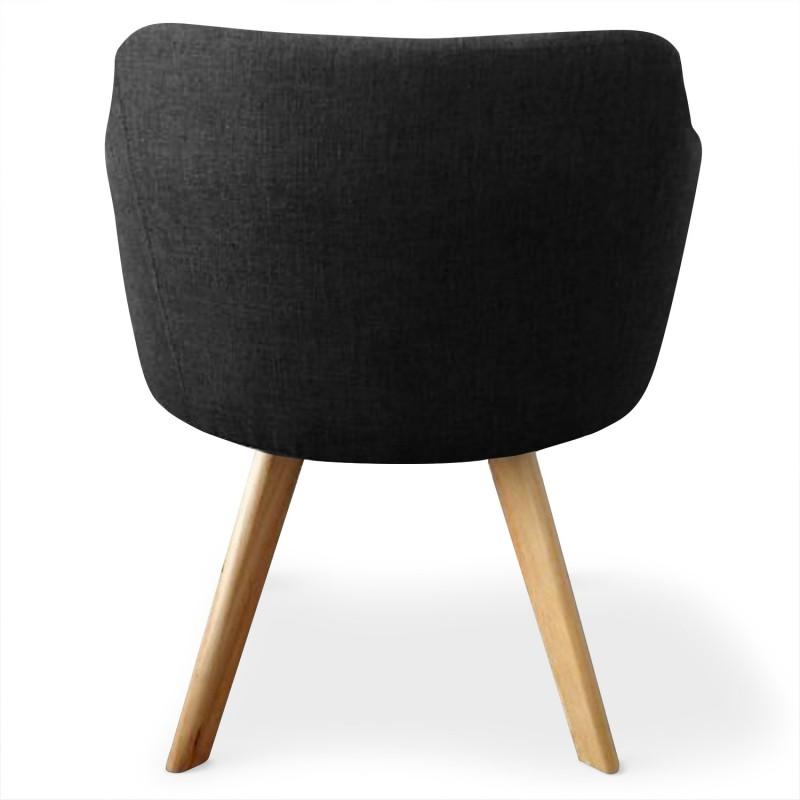 fauteuils scandinaves rigo tissu noir lot de 2 pas cher. Black Bedroom Furniture Sets. Home Design Ideas