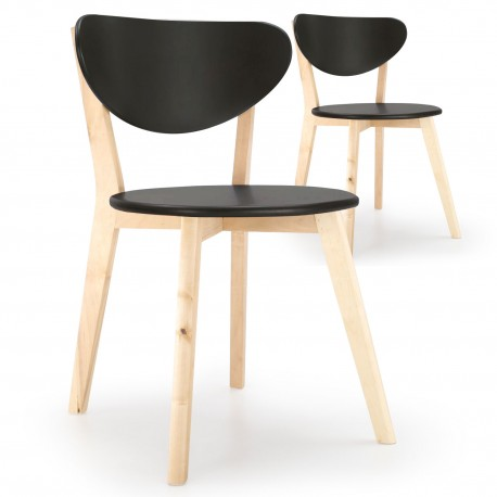 promo chaises style scandinave ada wood noir - Chaise Style Scandinave