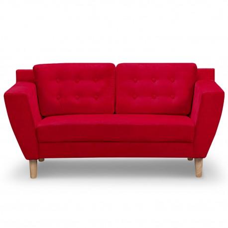 Canapé 2 places Scandinave Vintage Tissu Rouge pas cher