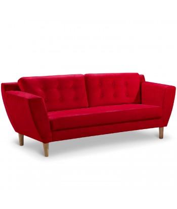 Canapé 3 places Scandinave Vintage Tissu Rouge