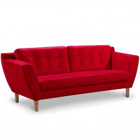 Canapé 3 places Scandinave Vintage Tissu Rouge pas cher