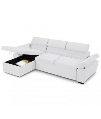 Canapé d'angle convertible avec coffre de rangement Blanc pas cher