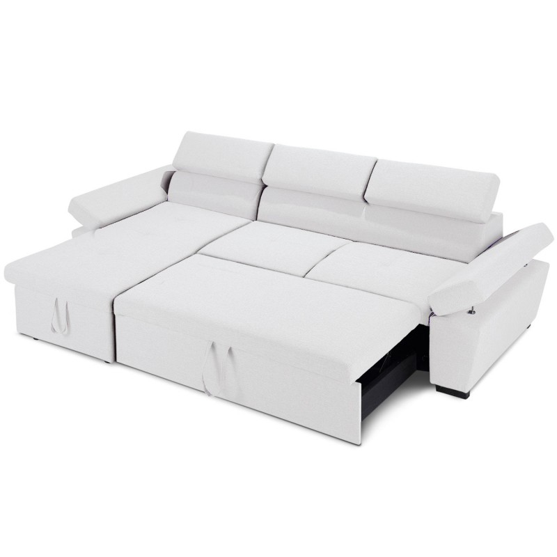 canap d 39 angle convertible avec coffre de rangement blanc. Black Bedroom Furniture Sets. Home Design Ideas