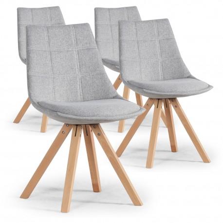 Lot de 4 chaises scandinaves Gris - Elia pas cher