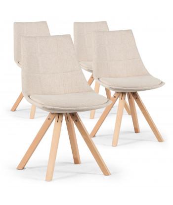 Lot de 4 chaises scandinaves Beige - Elia pas cher