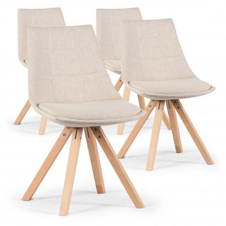 Lot de 4 chaises scandinaves Lea Beige