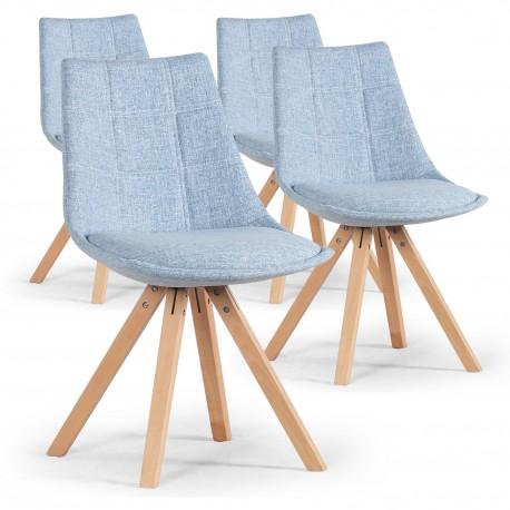 Lot de 4 chaises scandinaves Bleu - Elia pas cher