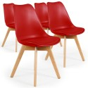 Chaise Scandinave Cuir Simili Rouge Ericka - Lot de 4