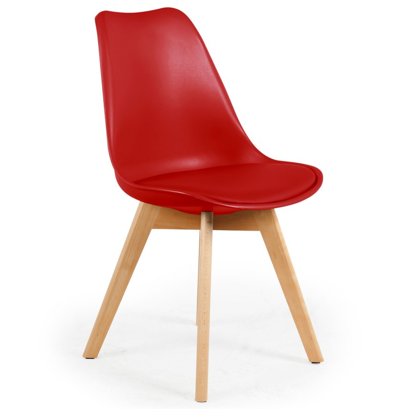 Chaise scandinave cuir simili rouge ericka lot de 4 pas for Chaise cuir rouge