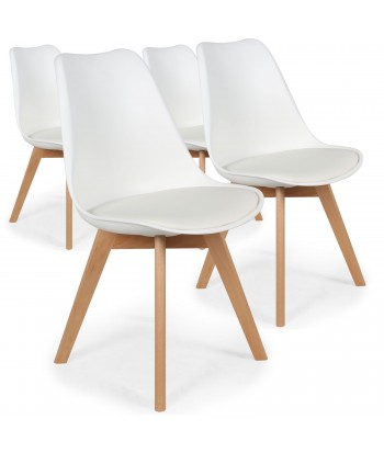 Chaise Scandinave Cuir Simili Blanc Ericka - Lot de 4