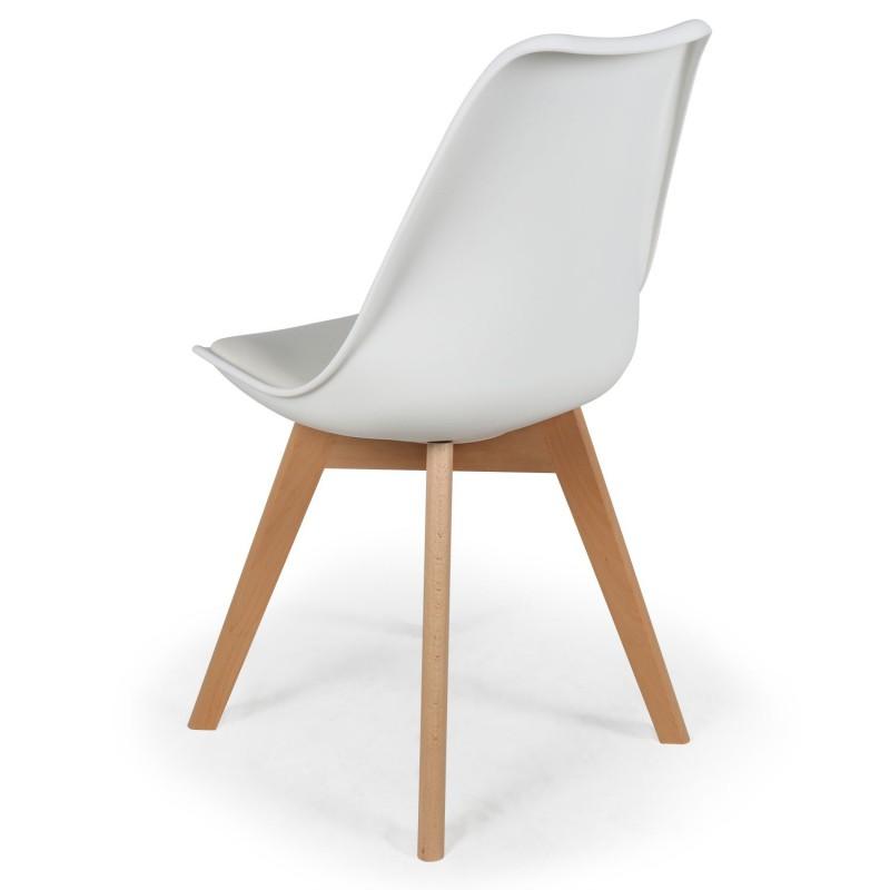 chaise scandinave cuir simili blanc ericka lot de 4 pas. Black Bedroom Furniture Sets. Home Design Ideas