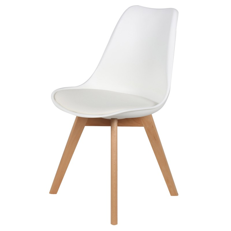 Chaise scandinave cuir simili blanc ericka lot de 4 pas for Chaise cuir blanc