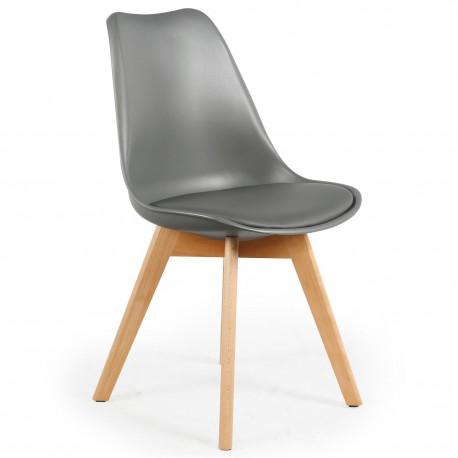 promo chaise scandinave cuir simili gris ericka lot de 4 - Chaise Scandinave Cuir