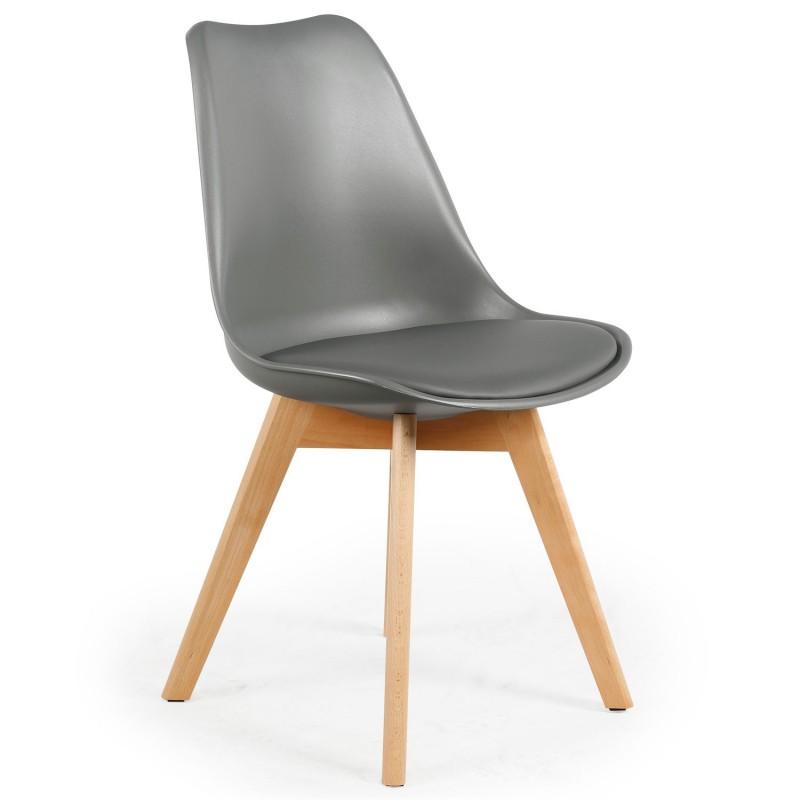 chaise scandinave cuir simili gris ericka lot de 4 pas cher scandinave deco. Black Bedroom Furniture Sets. Home Design Ideas
