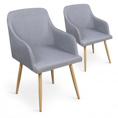 Lot de 2 chaises scandinaves Lea GrisGris pas cher