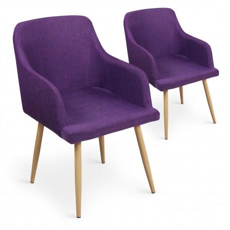 Lot de 4 chaises scandinaves Lea Violet pas cher