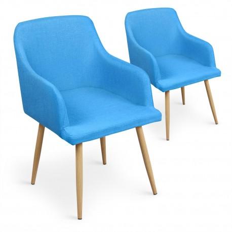 Lot de 4 chaises scandinaves Lea Bleu pas cher