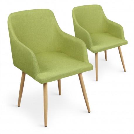 Lot de 2 chaises scandinaves Loca Vert pas cher