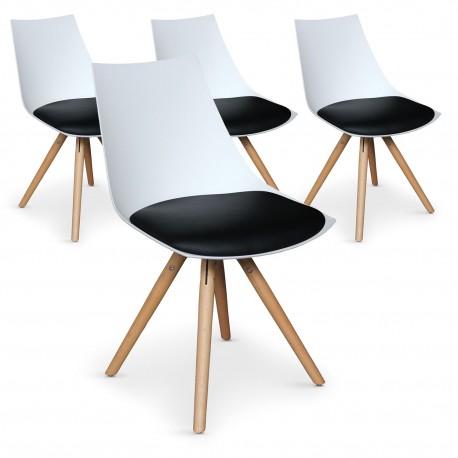 Lot de 4 chaises scandinaves Rona Blanc assise Noir