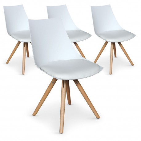 Chaises scandinaves Blanc assise Blanc - Roene (Lot de 4) pas cher