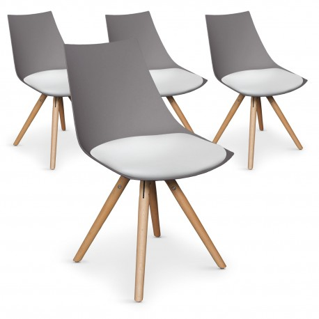 Lot de 4 chaises scandinaves Rona Taupe assise Blanc