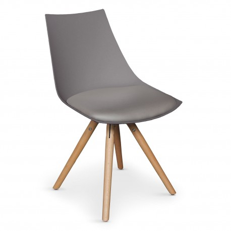 Lot de 4 chaises scandinaves Rona Taupe assise Taupe