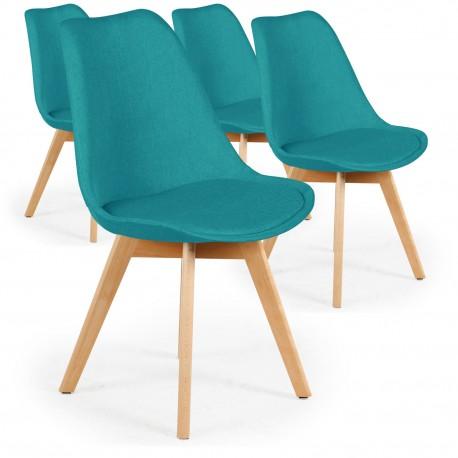 Lot de 4 chaises design scandinave Ericka Bleu Vert pas cher