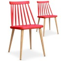 Chaises scandinaves Gunda Rouge - Lot de 2